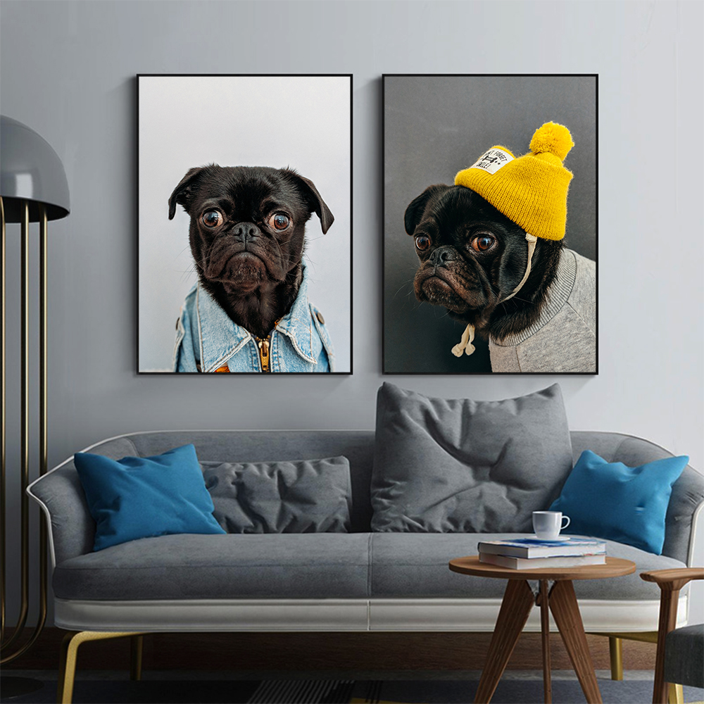 Animal Print Wall Office Decoration Painting Canvas Art Funny Wall Prints Pet Dog Picture for Living Room Home Decor No Frame image
