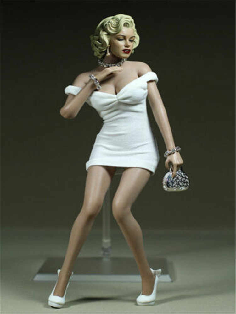 Action Figures Toy 1/6 Scale Woman White Dress F 12 HT