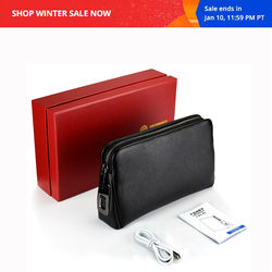 Men's Fingerprint Bags for men Leather Hand Bag Male Long Money Wallets Mobile Phone Pouch Men Messenger Bag Anti-Theft Purses