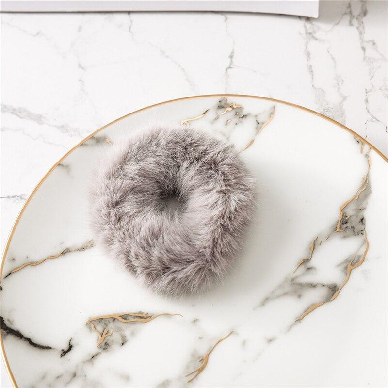 Мягкая Плюшевая повязка для волос резинки для волос натуральный мех кроличья шерсть мягкие эластичные резинки для волос для девочек однотонный цветной хвост резинки для волос для женщин - Цвет: Светло-серый