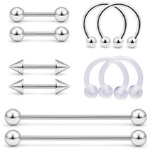 10Pcs/set 316l Surgical Steel Lip Labret Horseshoe Nose Ring Earrings Cartliage Segment Tongue Piercing Body Sexy Jewelry Kit(China)