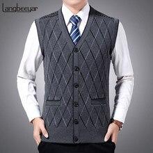 2021 nowa marka modowa swetry męskie swetry kamizelka bez rękawów Slim Fit swetry dzianina jesień koreański styl Casual odzież męska