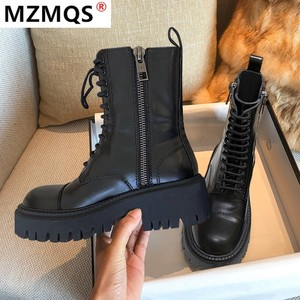2020 Fashion Shoes Woman Genuine Leather Lace-Up Thick Mid-Calf Boots Round Toe Shoes Winter Female Buckle Fashion Warm Boots