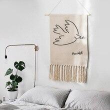 Bắc Âu Handmade Thảm Hoạt Hình Phòng Ngủ Nghệ thuật Treo Tường Vải Lanh Cotton Nền Trang Trí Treo Tường Trang Trí Boho Hồi Giáo Tấm Thảm