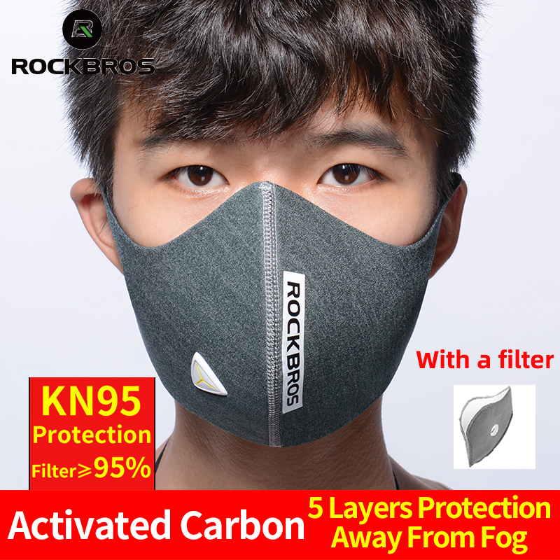 ROCKBROS Cycling Face Mask KN95 Bicycle Dust Mask Sports Breathable PM 2.5 Protective Mouth-Muffle Anti-dust Anti-fog Bike Mask