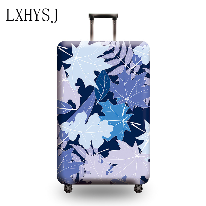 Luggage Cover Thicken Elasticity Suitcase Protective Covers Leaf Pattern Luggage Protective Case 18-32 Inches Suitcase Cover