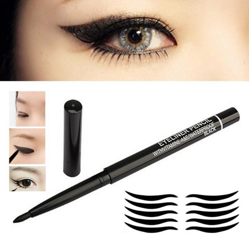 1 pçs preto rotação automática lápis delineador de longa duração sweatproof à prova dnot água líquido não florescendo delineador olho maquiagem tslm2