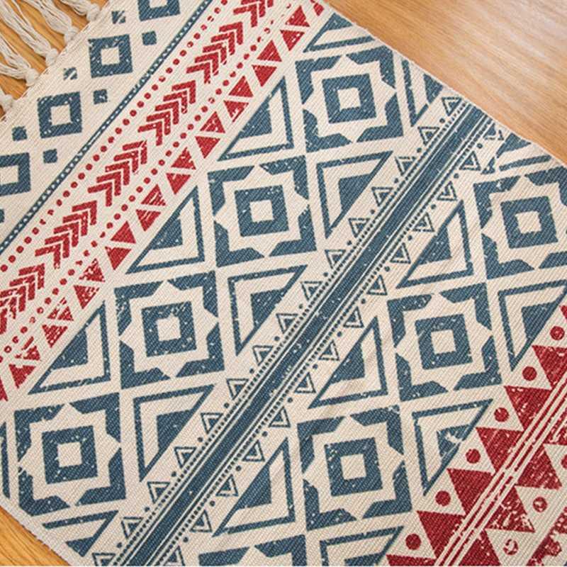 Tapis bohème rétro en coton et lin tissé à la main