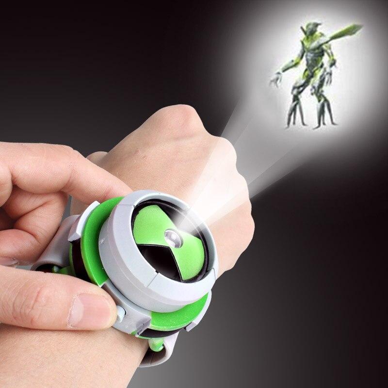 Brinquedo quente ben relógio omnitrix brinquedos para criança projetor relógios genuíno bening 10 projetor médio apoio presentes de aniversário da criança Figuras de ação    -