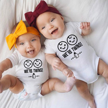 1pc We Are Twins New Infant Baby Boy Girl Twins Rompers Cott