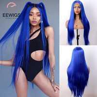 EEWIGS-Peluca de color azul real para mujer peluca recta resistente al calor con malla frontal, sin pegamento, sintética, 180% amarilla, con malla frontal s