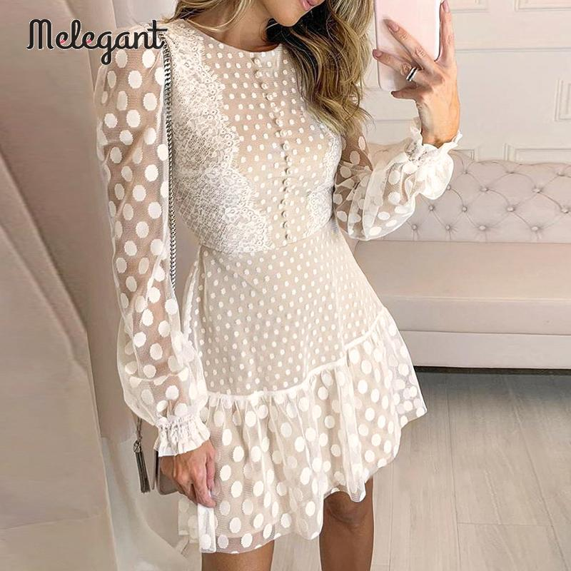 Melegant Sexy Winter Mesh Lace Dresses Women Party Embroidery Female Vintage Polka Dot Short Dress Plus Size Dresses Vestidos