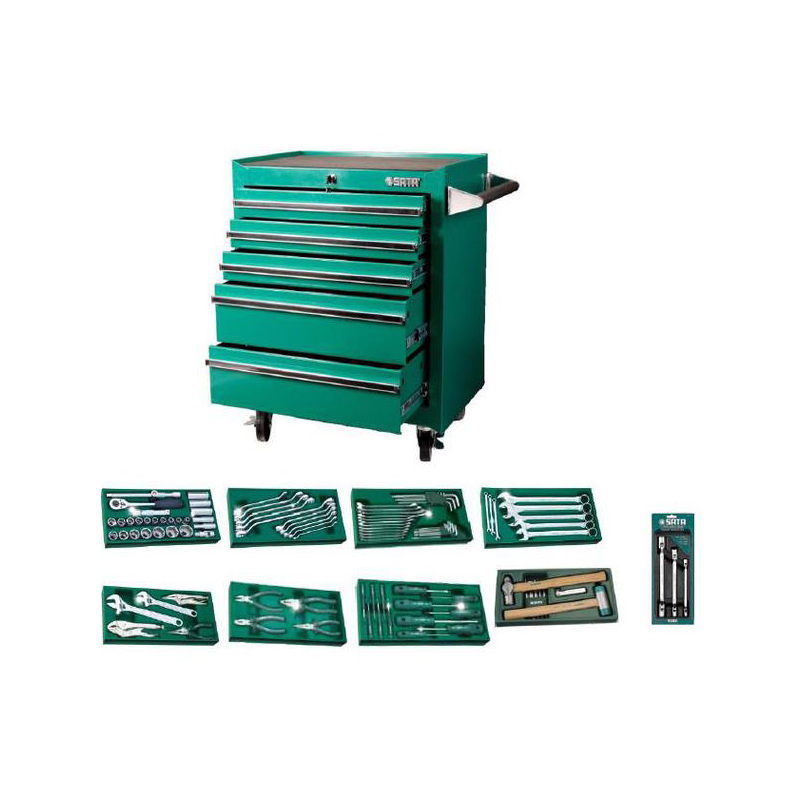 SATA 09916 For Tools. Trolley (680X458x860) 7 Retractable. Trays. Tool Set. 98пр. Trolley For Tools