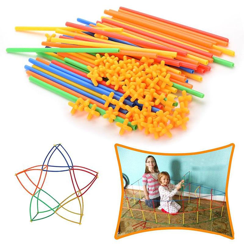 Детский конструктор «сделай сам», соломенный кубик для сборки, вставленный в туннель, развивающая игрушка, подарок для детей
