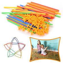 Diy palha blocos de construção túnel costura inserida construção montagem blocos tijolos brinquedos educativos para crianças presente do miúdo