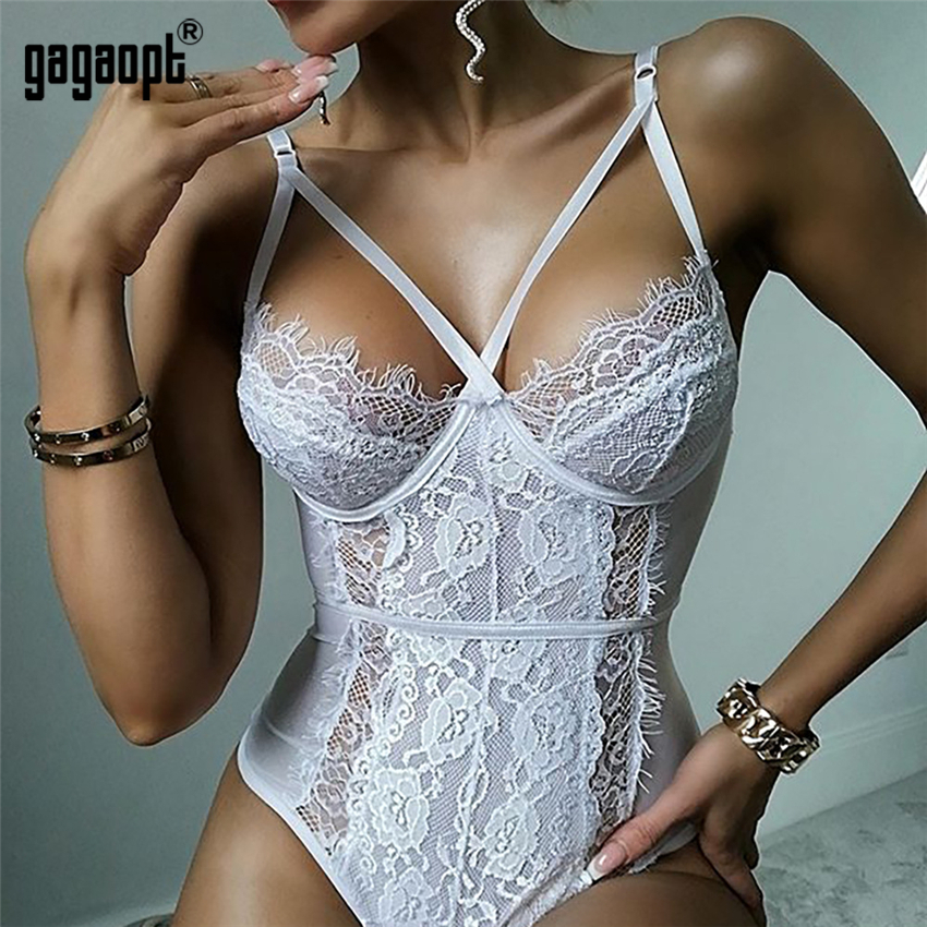 Gagaopt New Lace Bodysuit Women Floral Embroidery Hollow Out Sexy Bodysuit Jumpsuit Summer Overalls Streetwear