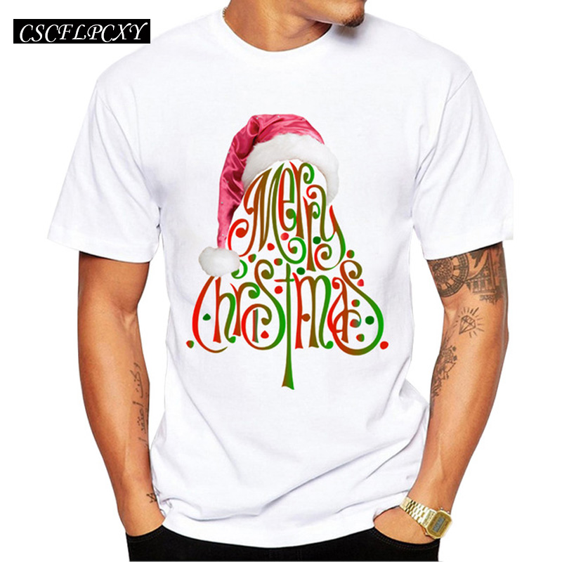 2019 Men's Christmas T-shirt Fashion Merry Christmas Printed Men T Shirts Short Sleeve Funny Tops