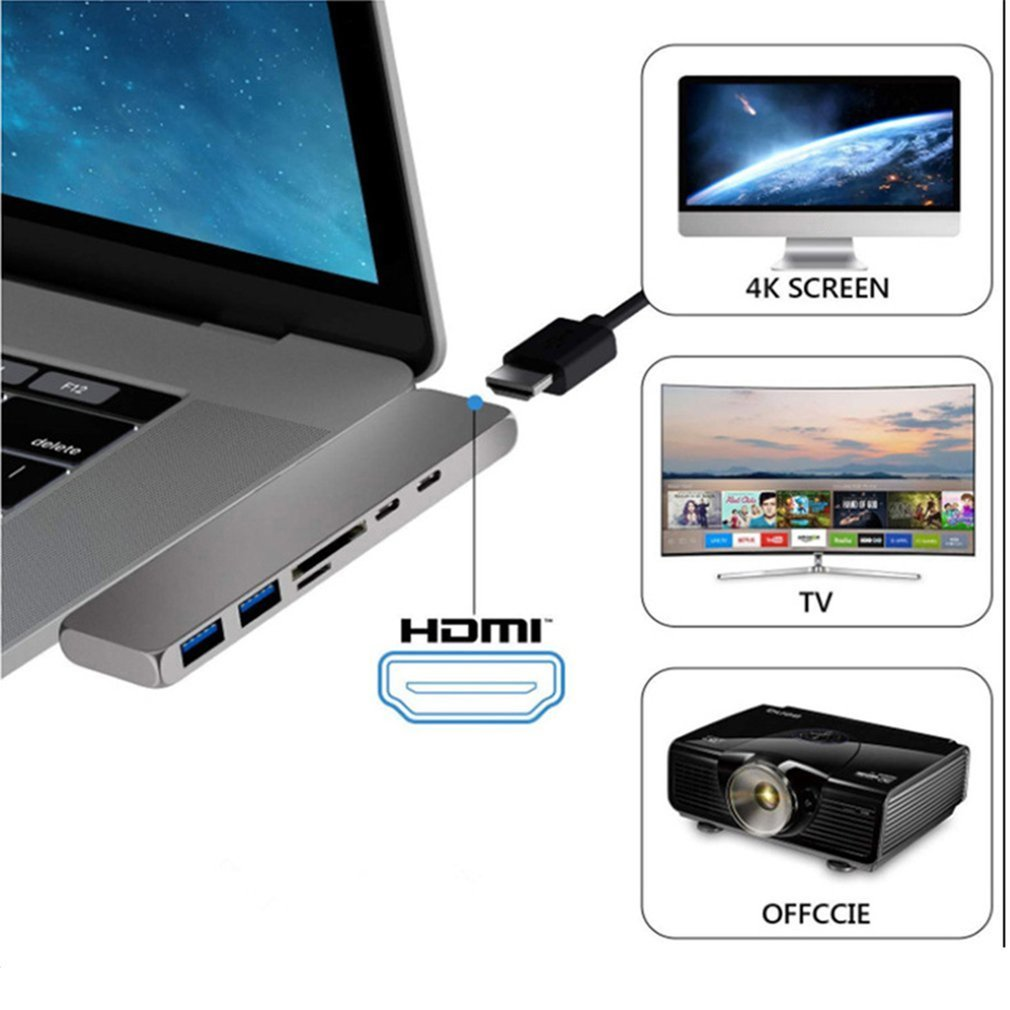 USB Hub Adapter 7 In 1 Dual Dock Type C To HDMI Convertor For MacBook Pro With 4K Card Reader USB 3.0