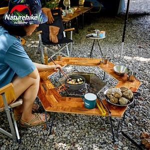 Image 5 - Naturehike mesa de Camping con Panel de madera y soporte de hierro, mesa de acampada Hexagonal, fácil montaje, pícnic familiar al aire libre, barbacoa de viaje, 2019