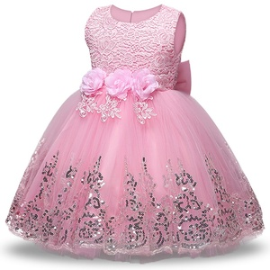 2020 Summer Pink Girls Dress Bow Baby Girl 1 Year Birthday Dress Flower Girl Party Tutu Princess Dress Children vestido infantil