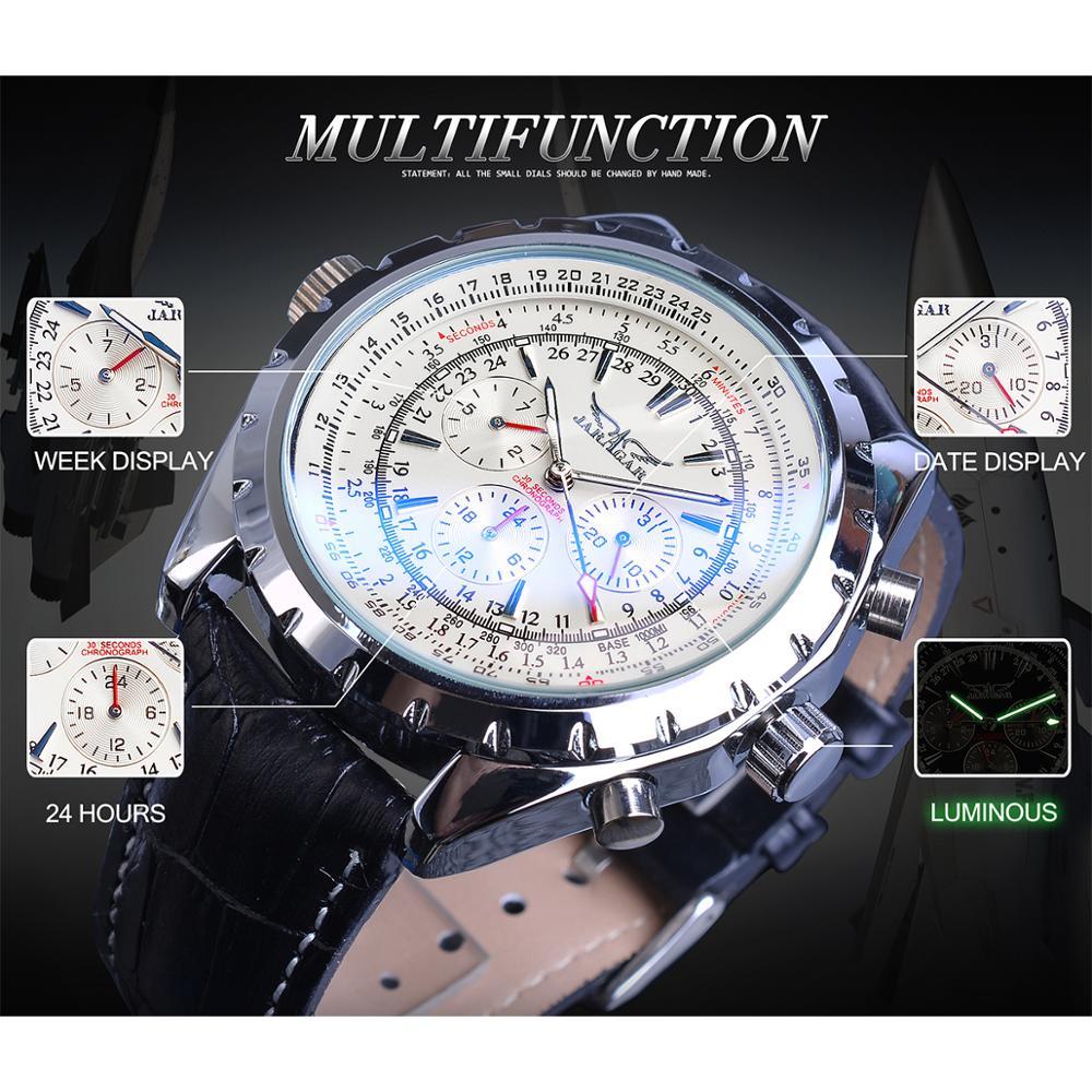 Jaragar 2020 Blue Glass Aviator Series Military True Men Sport Automatic Wrist Watch Top Brand Luxury Mechanical Male Clock Hour 3