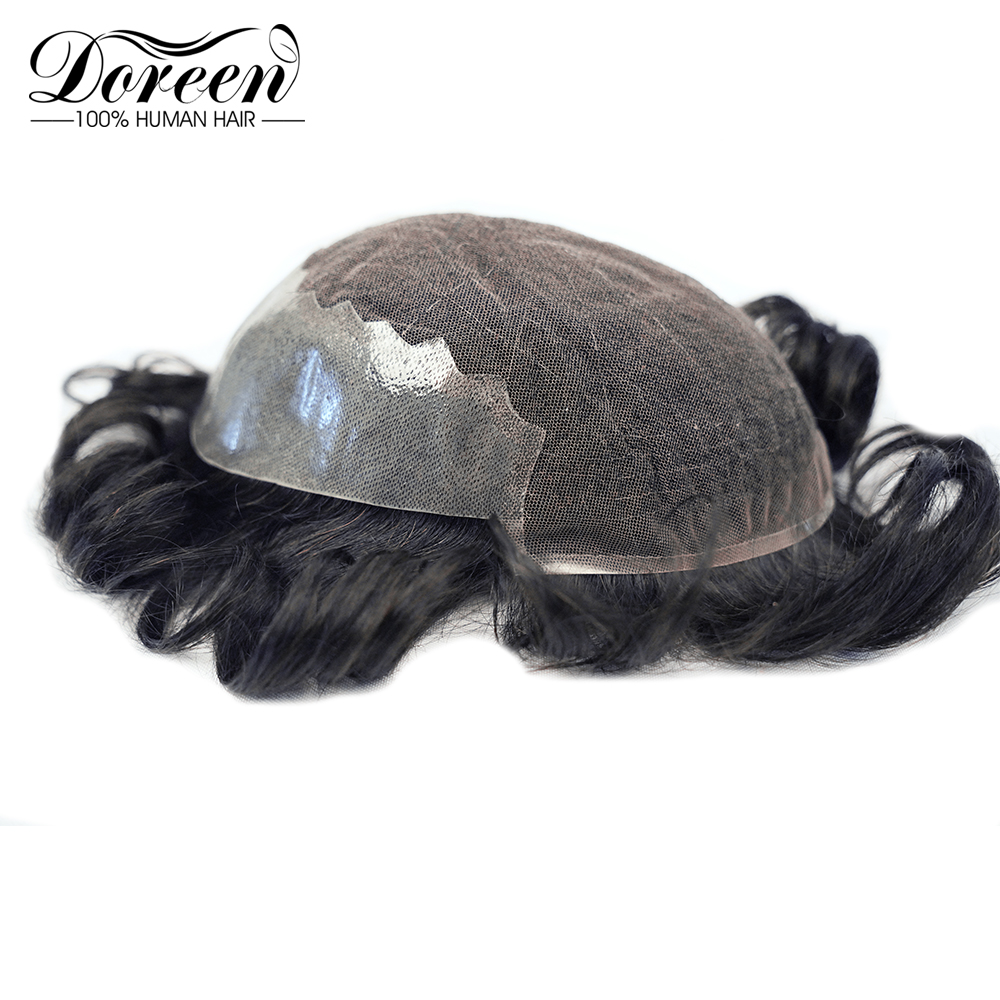 Doreen Remy Human Hair Durable Hairpieces Lace PU Replacement System For Men Toupees Human Hair Durable Hairpieces Lace & PU