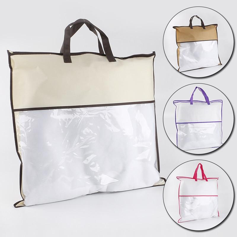 Портативная сумка для хранения одежды с ручкой, нетканый Противопылевой пакет, одеяло, органайзер для одеял, вместительная сумка-тоут