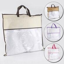 Saco de armazenamento de roupas portátil com alça não-tecido anti-poeira pacote cobertor colcha organizador grande capacidade bolsa tote
