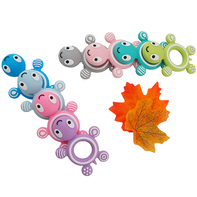 Chenkai 50PCS Baby Silicone Cute Turtle Teethers BPA Free Baby Tiny Rod Teething Food Grade DIY Chew Bracelet Necklace Kids Toys