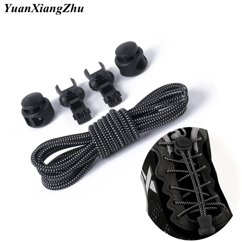 1 Pair Elastic Shoe Laces Round Locking No Tie Shoelaces Kids Adult Quick Lazy Laces Rubber Sneakers Shoelace 22 Colors