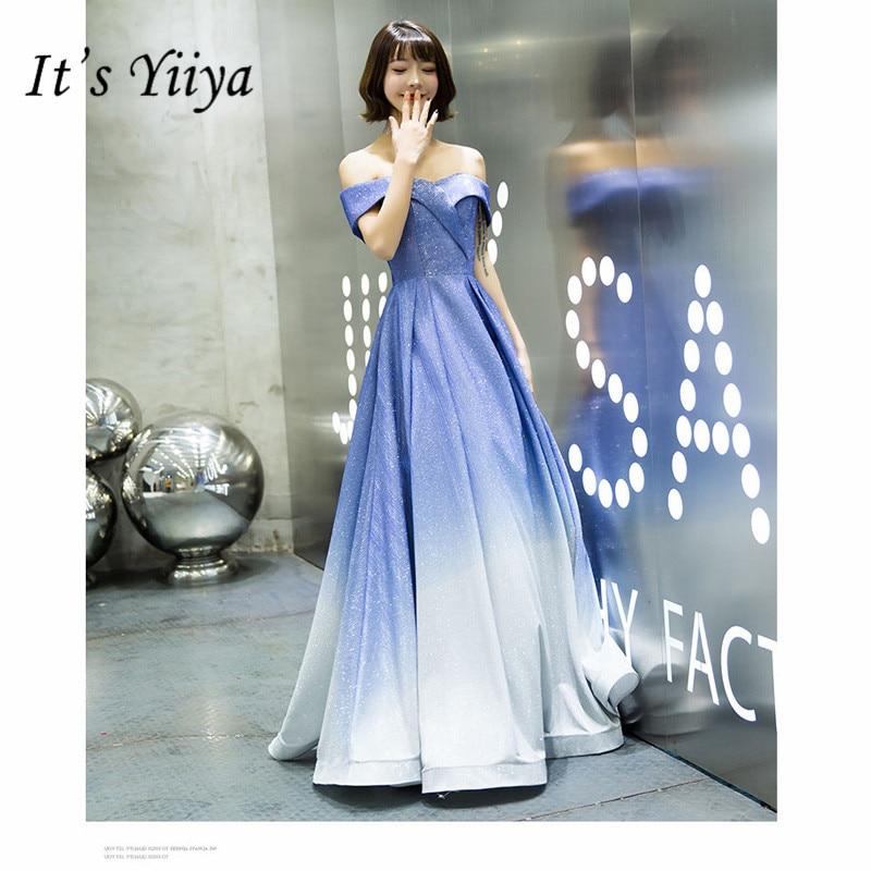 It's Yiiya Evening Dress Elegant Boat Neck A-Line Sequin Robe De Soiree Off Shoulder Floor-Length Women Party Night Dresses E811