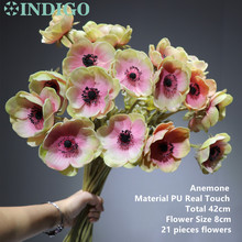 INDIGO - 21 pcs Pink Anemone Flower Daisy Home Decoration Wedding Artificial Floral Event Party Free Shipping