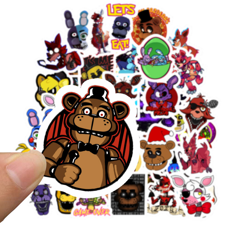50Pcs Five Nights At Freddy Decal Cartoon Sticker For Car Laptop Bicycle Skateboard Backpack Stickers Toy Stickers Gifts