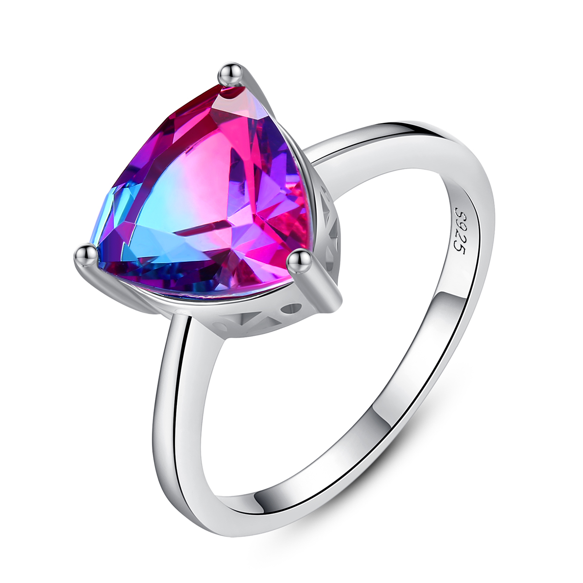 Allakalo Nature Rainbow Fire Mystic Topaz Gemstone Rings for Women Anniversary 925 Sterling Silver Engagement Wedding Anel AR022