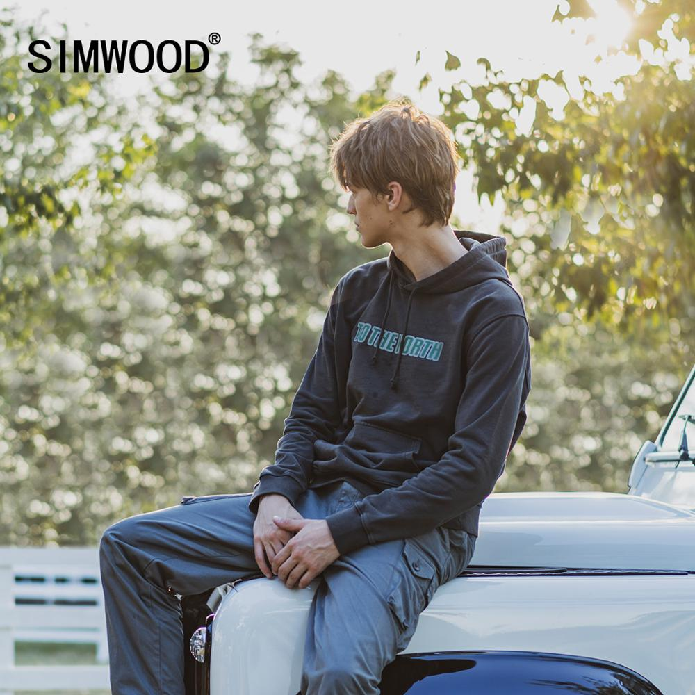 SIMWOOD 2020 Autumn Witner New Hooded Sweatshirt Garment Washed Letter Print Jogger Hoodies Plus Size 100% Cotton Gym Pullover