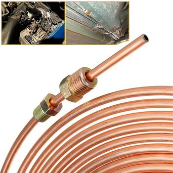 цена на 1 Set 25ft 7.62m Roll Tube Coil of 3/16 OD Copper Nickel Brake Pipe Hose Line Piping Tube Tubing Anti-rust With 16PCS Tube Nuts