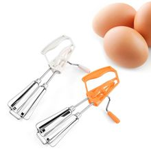 Egg-Stir-Bar Rotary-Whisk Kitchen-Supplies Hand-Crank Stainless-Steel for Home Double-Wheel
