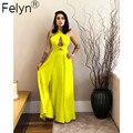 Felyn 2020 лучшее качество от известного бренда однотонное платье с лямкой на шее без бретелек летнее вечернее платье знаменитости Макси платья