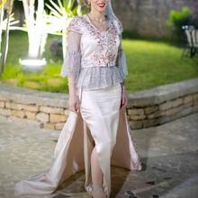 Женское вечернее платье русалка элегантное кружевное из двух