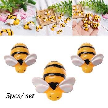 5 sztuk żywica sztuczne pszczoły Mini symulowane zwierzęta szlamowe wisiorki dzieci zabawki glina diy ozdoba do włosów akcesoria pokrywy telefonu