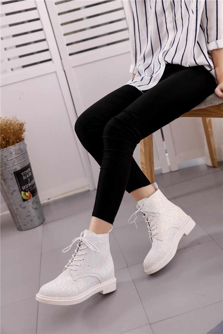 JIUFIFTH นักออกแบบแบรนด์ผู้หญิงข้อเท้ารองเท้าบูทส้นสูงหญิงรองเท้าผู้หญิงฤดูใบไม้ร่วง Glitter Lace Up Casual Bling สีชมพู wyq80