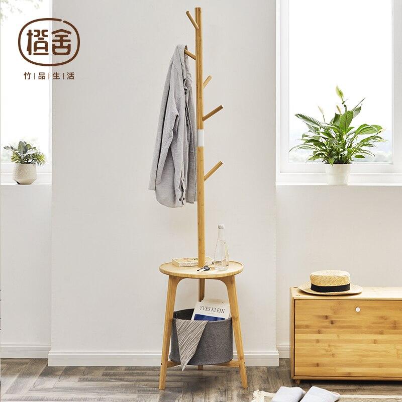Porte-manteau en bambou avec rangement
