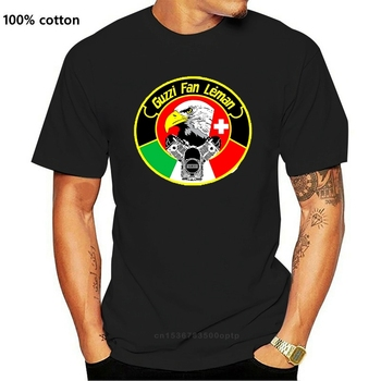 Guzzi Fans Leman Moto Guzzi Tee Shirt Men's Round Neck Short Sleeves Cotton T-shirt in White Motorbikes Cafe Race image