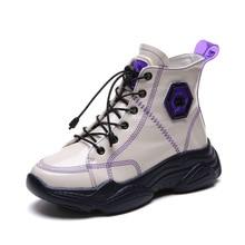 SWYIVY النساء حذاء من الجلد بولي Leather جلد الشتاء أفخم الدافئة أحذية رياضية عالية منصة الشقق سميكة القاع الدانتيل متابعة أحذية النساء غير رسمية