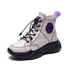 SWYIVY femmes bottines en cuir PU hiver en peluche baskets chaudes plate forme haute chaussures plates fond épais à lacets décontracté femmes chaussures