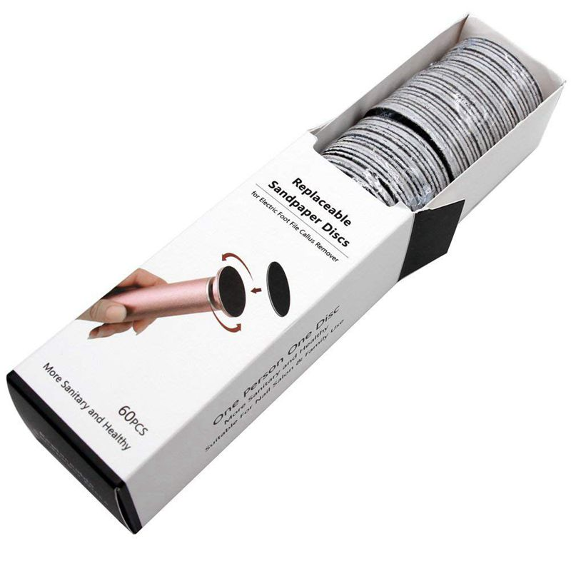 60pcs Replacement Sandpaper Discs Pad (Regular Coarse 100 Grit) For Electric Foot File Callus Remover Pedicure Tool