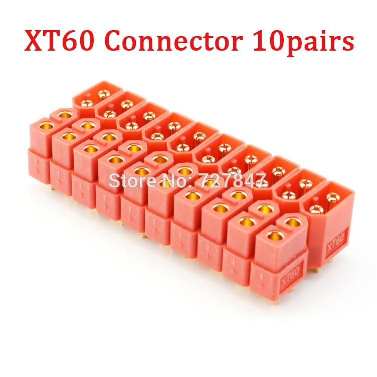 20 шт.(10 пар) Высокое качество XT30 XT30U XT60 XT60H XT60L XT60PW XT90 XT90S разъем для батареи мультикоптера - Цвет: Orange XT60 Plug