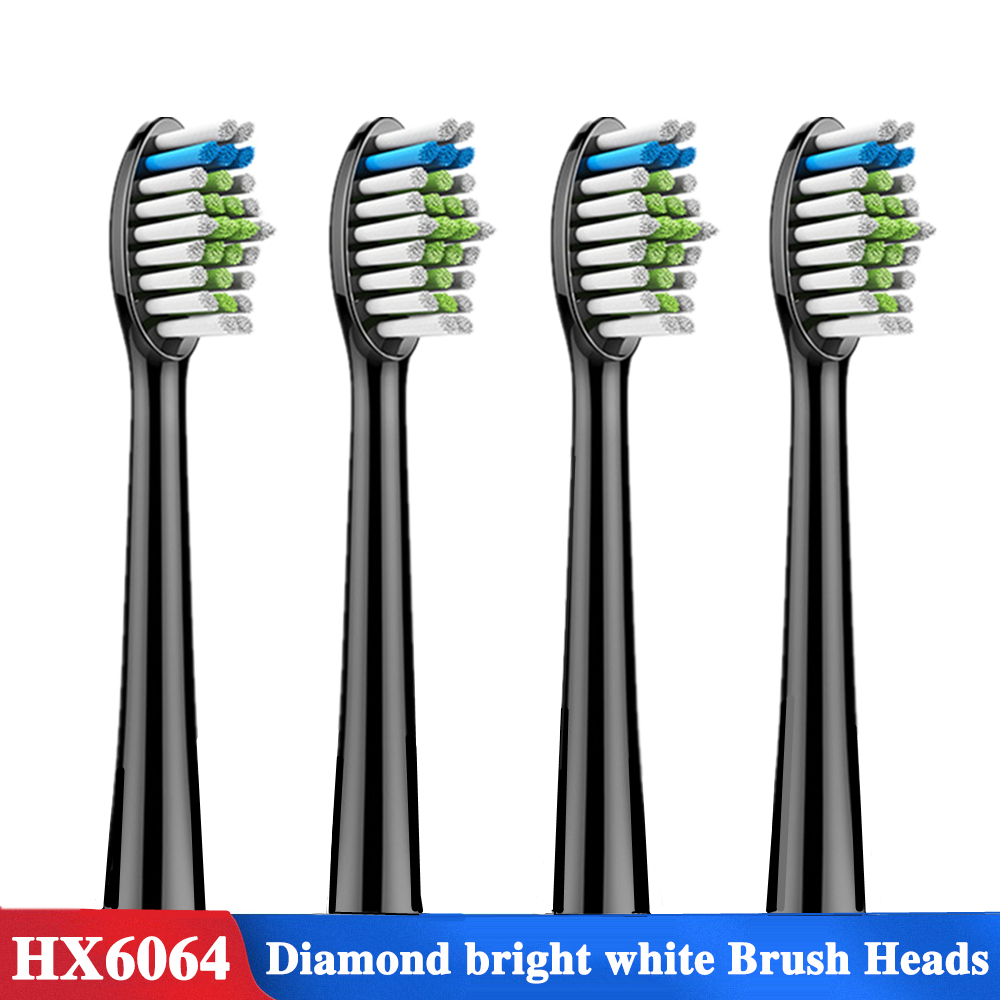 4pcs Replacement Tooth Brush Heads For Philips Sonicare DiamondClean HydroClean Black HX6064 HX9352 Electric Toothbrush Heads