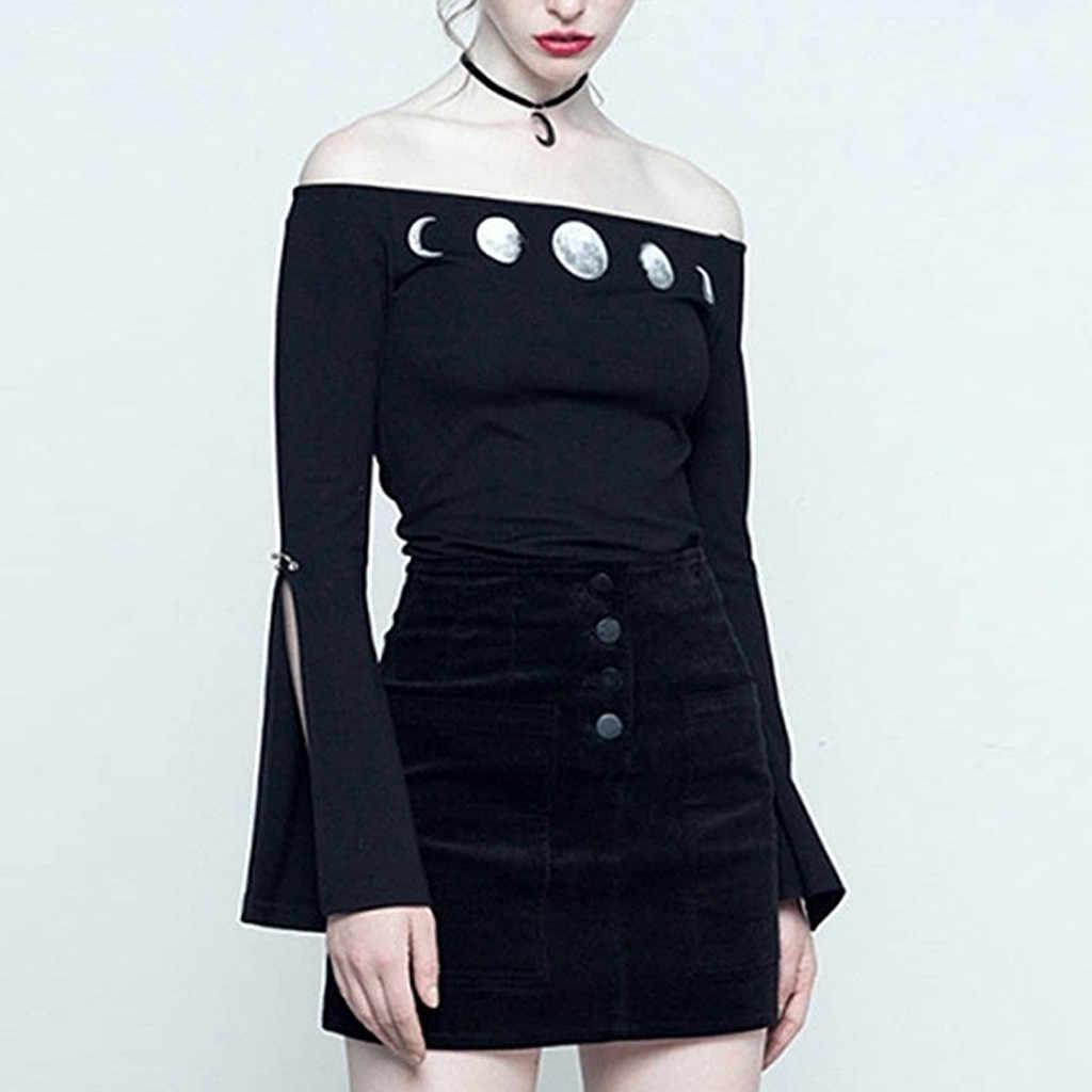 Gothique Punk noir Yoga chemise lune imprimer serré Sexy combinaison en cours d'exécution Yoga femmes Gym Sports confortable hors épaule Sportswear A7