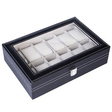 12 Compartments Top-level Opening Style Leather Watch Collection Box  PU Leather WatchBlack top margo collection top